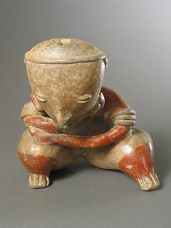 Chinesco Style (Type C) Nayarit Terracotta Sculpture of a Seated Woman