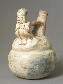 La Tolita Terracotta Vessel Featuring a Squatting Figure