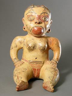 Galo Polychrome Seated Female Figure