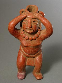 Mayan Sculpture of a Woman Carrying a Vessel