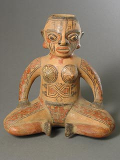 Galo Polychrome Vessel Depicting Seated Female