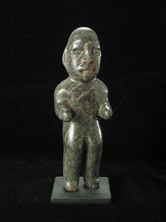 Olmec Stone Sculpture of a Man Carrying a Child on His Back