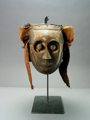Kuba Wooden Pwoom Itok Mask with Raffia Head Cover