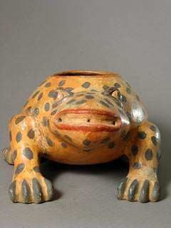 Terracotta Polychrome Frog Effigy Vessel