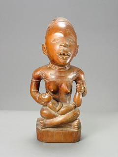 Kongo Wooden Pfemba Sculpture of a Mother and Child