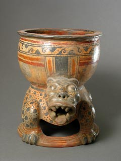 Bowl Supported by a Double-Headed Jaguar Effigy