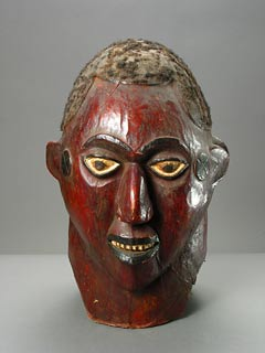 Ekoi Wooden Janiform Mask Covered in Animal Hide