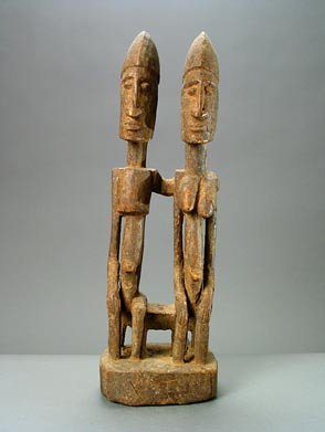 Dogon Wooden Sculpture of a Seated Ancestor Couple