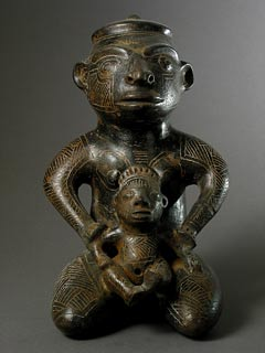Kneeling Male With Child Sculpture