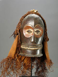 Chokwe Wooden Cihongo Mask with Cloth and Raffia Fibers