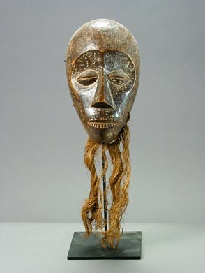 Lega Wooden Mask with Raffia Fiber Beard