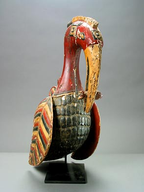 Baga Wooden Polychrome Sculpture of a Bird
