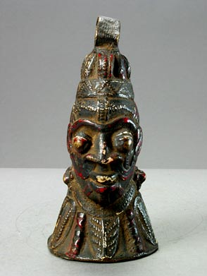 African Art-Benin Brass Bell-Shaped Head