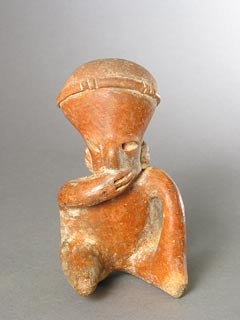 Chinesco Style (Type D) Nayarit Terracotta Sculpture of a Seated Figure