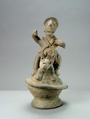 Yoruba Terracotta Sculpture of a Man Riding an Animal