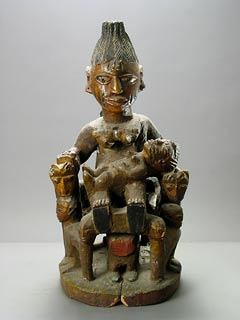 Yoruba Wooden Polychrome Shrine Figural Group