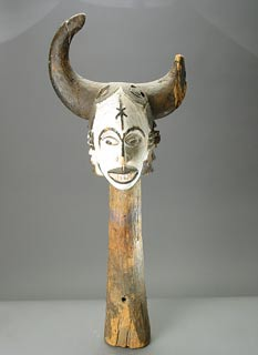 African Art / Ibibio Wooden Polychrome Sign Post