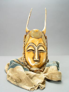 Baule Ivory Mask with Cloth Veil