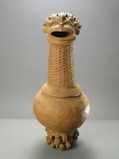 Cameroonian Terracotta Vessel with a Head-Shaped Lid