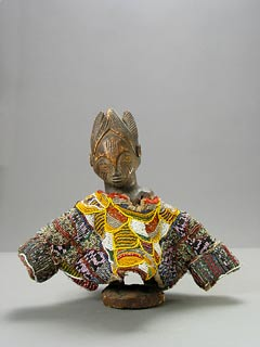 Yoruba Ibeji Doll with Beaded Gown