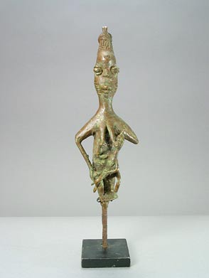 Yoruba Brass Edan Sculpture of a Woman