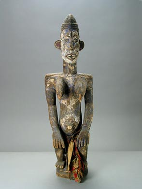 Igbo Wooden Alusi Sculpture of a Seated Female