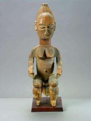 Lagoon Regions Wooden Sculpture of a Seated Woman