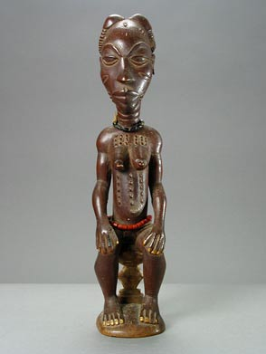 Anyi Wooden Sculpture of a Seated Woman