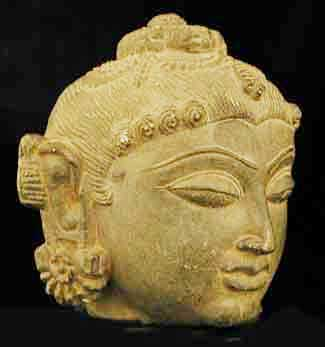 Northern Indian Grey Stone Sculpture Of A Head
