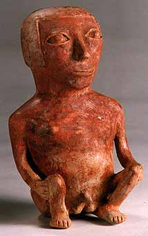 Carchi Terracotta Sculpture of a Squatting Man