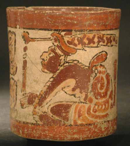 Mayan Painted Cylinder Vase