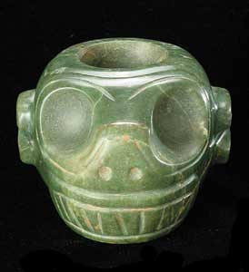 Guanacaste-Nicoya Jade Mace Head in the Form of a Monkey Head