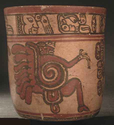Copador Style Mayan Polychrome Cylindrical Vase