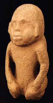 Mayan Sculpture of a Seated Dwarf