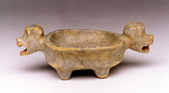 Guanacaste-Nicoya Jade-Like Stone Vessel with Monkey Head Handles