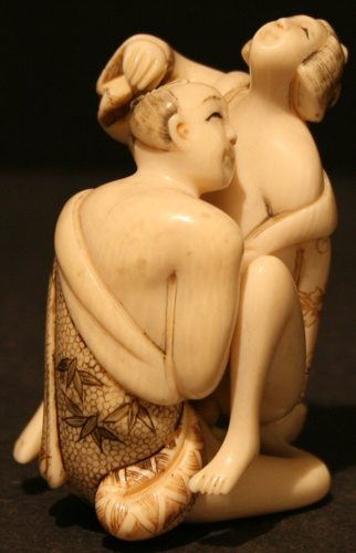 Ivory Netsuke Depicting an Erotic Couple