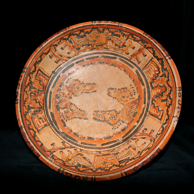Mayan Polychrome Plate with Four Rattle Feet