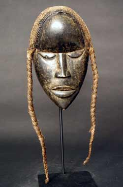 Dan Wooden Go Ge Mask with a Raffia Wig