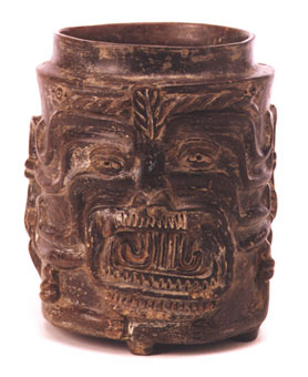 Mayan Lidded Vessel Depicting Tlaloc the Rain God