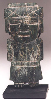 Teotihuacan Jade-like Stone Sculpture of a Standing Figure
