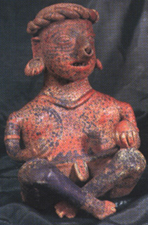 Ixtlán del Rio Style Nayarit Terracotta Sculpture of a Seated Man Holding a Ball