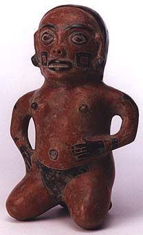 Costa Rican Sculpture of a Kneeling Figure