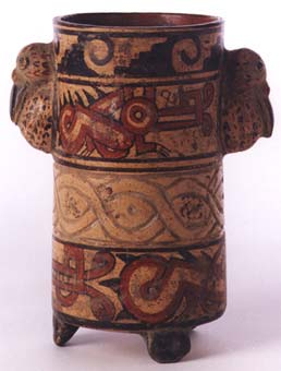 Guanacaste-Nicoya Geometric Vessel with Molded Bird Heads