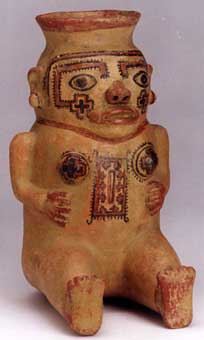 Galo Polychrome Seated Female  Effigy Vessel
