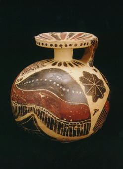 Corinthian Aryballos Depicting a Winged Panther