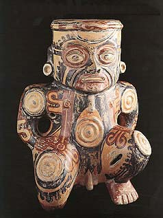 Galo Polychrome Kneeling Male Figure