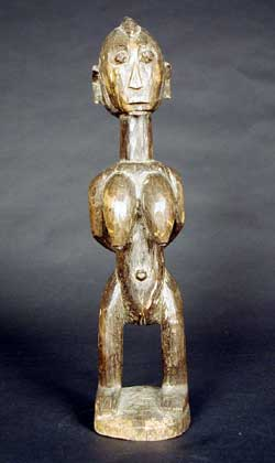 Bambara Wooden Sculpture of a Mother and Child