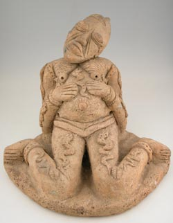 Djenne Terracotta Sculpture of a Seated Pregnant Woman