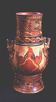 Tall Polychrome Alligator and Frog Vessel