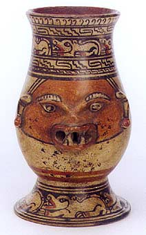 Tall Polychrome Vessel With  Zoomorphic Theme